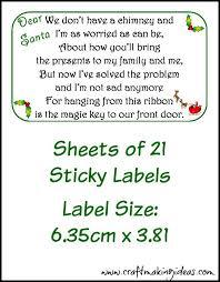 santa key christmas santa s magic key sticky label sheets
