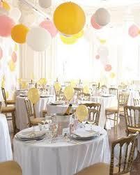 Table Top Balloon Centerpieces by Decoração De Casamento Na Cor Amarela Yellow Balloons Wedding