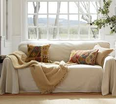 Couch With Slipcover Dropcloth Loose Fit Slipcover Twill Pottery Barn