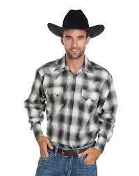rockmount men u0027s long sleeve plaid snap shirt black