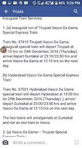 Vasco Da Gama Route Map by Vasco Da Gama Hyderabad Weekly Express 17022 Picture U0026 Video