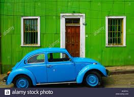 blue volkswagen beetle vintage bright blue volkswagen beetle in front of a green house in