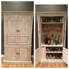 How To Antique Furniture by Tv Stand Turned Bar Valspar Chef White Paint And Antique Glaze