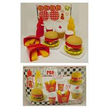 kit de cuisine enfant kit hamburger 32pcs jeux jouet cuisine cuisinier enfant fast food