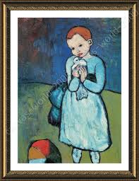 framed poster child with dove pablo picasso framed wall decor for