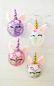 hello wonderful diy glitter unicorn ornaments