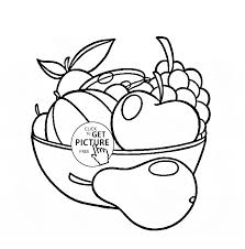 fruit bowl coloring page for kids fruits coloring pages