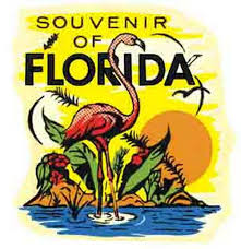 Florida travel steamer images Souvenir of florida quot flamingo vintage 1950 39 s style travel decal jpg
