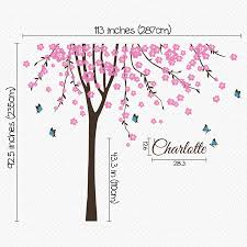 personalised tree with names and butterflies by wall