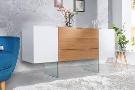 Buffet design blanc laqué bois chªne et verre yx 160 cm