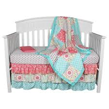Pink And Aqua Crib Bedding Floral Coral Aqua 4 In 1 Baby Crib Bedding Set By The