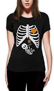 Skeleton Woman Halloween Costume Pregnant Skeleton Halloween Costume Women Fitted Shirt
