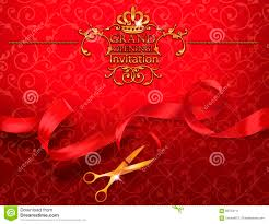 Invitation Cards Design With Ribbons Red Grand Opening Invitation Card With Scissors And Red Ribbon