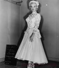 high neck lace tea length marilyn monroe wedding dress wedding