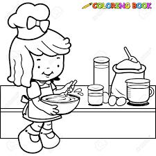 Petite Fille à La Page De Coloriage Pour Colorier Clip Art Libres De