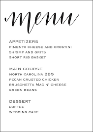 wedding reception menu 5x7 wedding menu template by mmcalligraphy