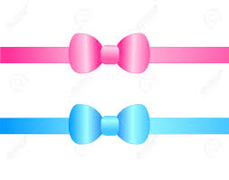 pink satin ribbon blue and pink satin ribbon bows isolated on white background