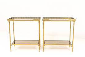 side table set of 2 french brass and glass side tables set of 2 for sale at pamono