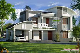 curved roof flat roof house plan kerala home design and 2 floor