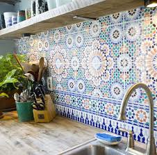 moroccan inspired tiles in the kitchen moroccan plan de travail