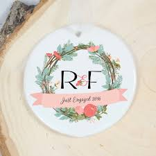 personalized just engaged ornament wreath mrsmylaurie