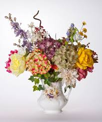 Silk Hydrangea Pansy Vase Filled With Silk Hydrangea Rose And Cornflowers Stock