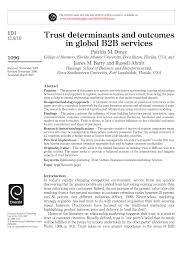 trust determinants and outcomes in global b2b service pdf