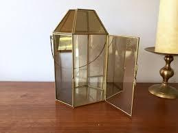 glass curio lantern tall glass metal terrarium w handle