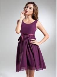 a line princess scoop neck knee length chiffon bridesmaid dress