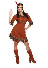 Womens Pocahontas Halloween Costumes Ladies Brown Red Indian Women Fancy Dress Costume Wild West