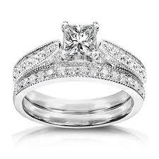 18k white gold wedding band 1 carat princess cut certified diamond pleasing antique