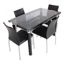 Bent  Seater Glass Top Dining Table Set Woodys Furniture - Glass top dining table hyderabad