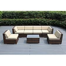 Wicker Patio Conversation Sets Amazon Com Ohana 7 Piece Outdoor Wicker Patio Furniture