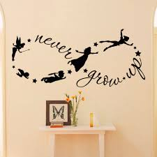 peter pan children flying disney silhouette grow quote