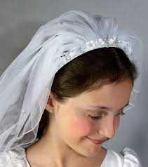 white flower headband communion flower headband veil
