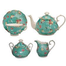 shabby rose turquoise tea set the teapot shoppe inc