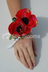Red Prom Corsage Shop Gorgeous Bright Red Anemone Poppy Pearl Wrist Corsage