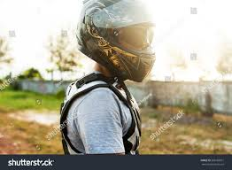 motorcycle wear young sportsman posing on helmet opposite stock photo 269186591