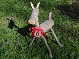 yard deer reindeer made from logs by