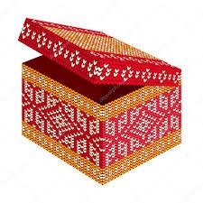 holiday gift box with scandinavian style knitted pattern u2014 stock