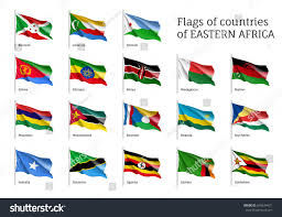Kenya Africa Flag Set Waving Flags Eastern African States Stock Illustration