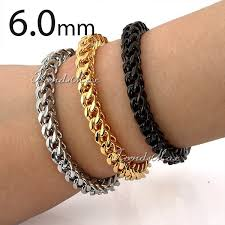 black bracelet box images 5 6 7mm heavy mens chain boys franco box silver black gold tone jpg