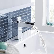 ibathuk modern waterfall chrome basin mixer tap monobloc