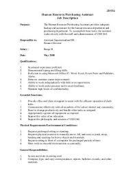 Resume For Purchase Assistant Purchasing Assistant Job Description Human Resource Associate Job