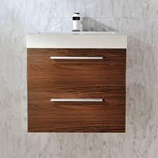 milo wall hung walnut basin vanity unit 700mm bathroom
