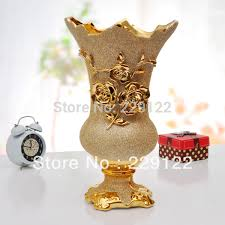 Large Floor Vases For Home Gold Plated Modern Ceramic Vase Electroplated Frosted Carved