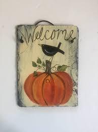 halloween welcome sign pumpkins u0026 black crow slate door hanger