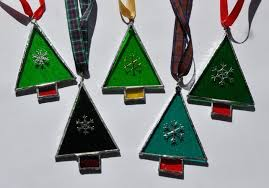 stained glass tree decorations x 2 folksy