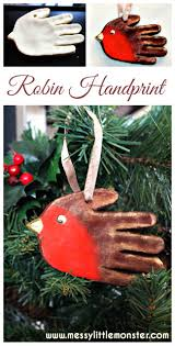 handprint robin ornament messy little monster