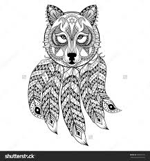 vector ornamental wolf with dreamcatcher ethnic zentangled mascot